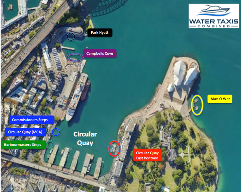 water taxi circular quay pickup points