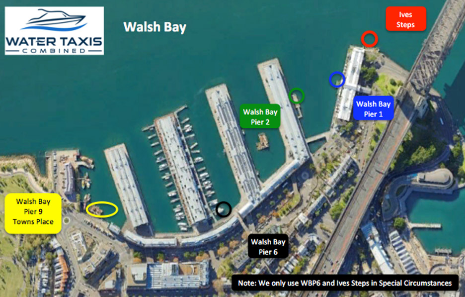 water taxi walsh bay pickup points